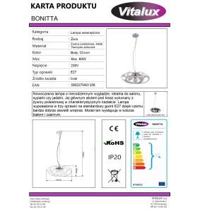 BONITTA-W chrom+biały lampa zwis*3 żarówki fi430mm
