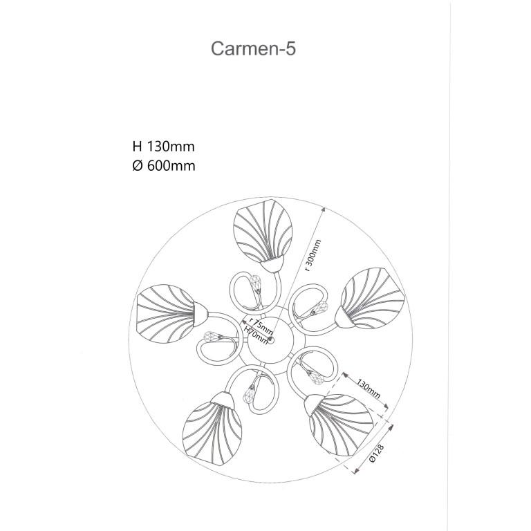 CARMEN-5 chrom lampa sufitowa żyrandol