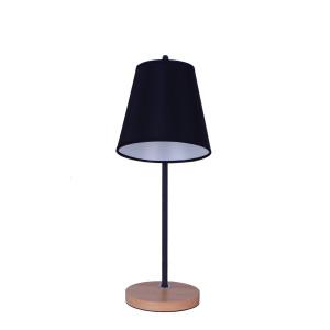 LAGO czarny+drewno lampa stołowa E27-1*40W