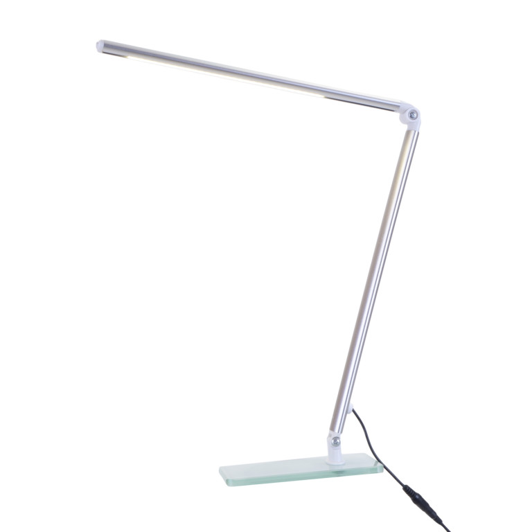 MT-502 LED 6W 6000K srebrny lampka biurkowa szkło