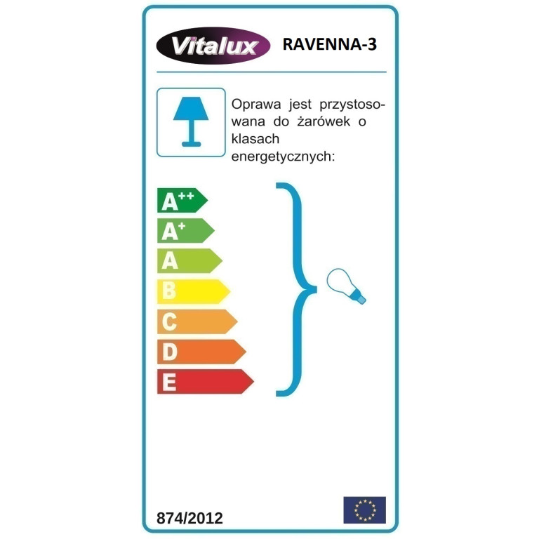 RAVENNA-3  żyrandol 3xE27 chrom klosz szklany