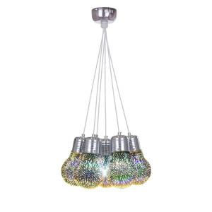 "SIRIUS 7  chrom lampa ""żarówka"" efekt 3D zwis E27"