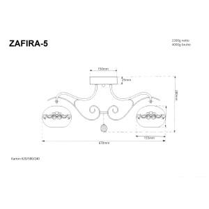 ZAFIRA-5 chrom lampa sufitowa żyrandol