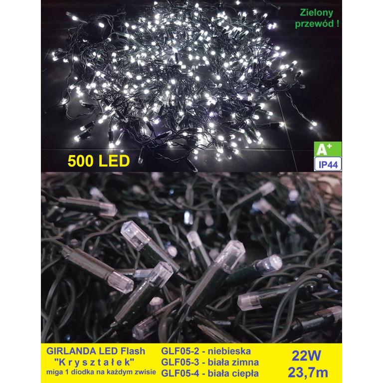 GLF05-3 girlanda zewn.500LED FLASH z.biały gn
