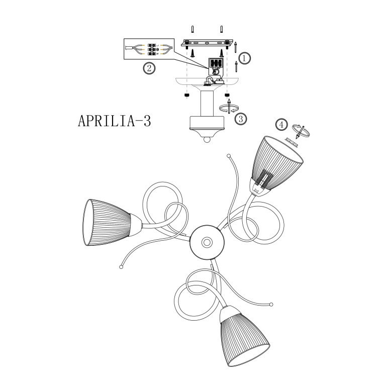 APRILIA-3 chrom klasyczna lampa sufitowa E27 hurt