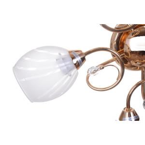 CARMEN-5 złoty klasyczna dostojna lampa sufitowa żyrandol klosze szkło 5xE27 hurt
