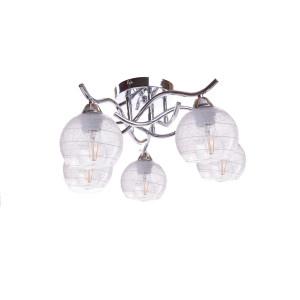 CASERTA-5 klasyczna chrom lampa sufitowa żyrandol klosze kula szkło ozdobne nakrapiane 5xE27 hurt