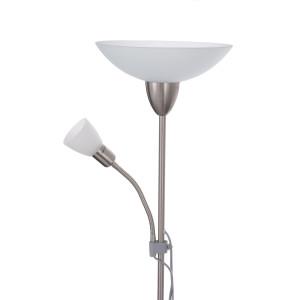 KEVIN satynowy nikiel lampa podłogowa E14/E27