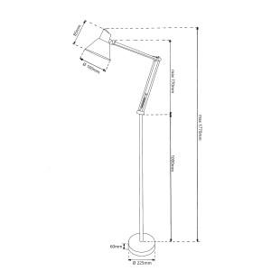 MT-707 srebrny lampa stojąca podłogowa