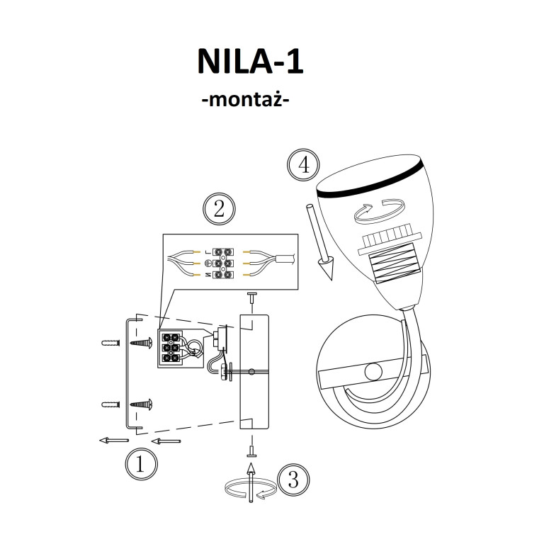 NILA-1/W antyczny mosiądz lampa ścienna