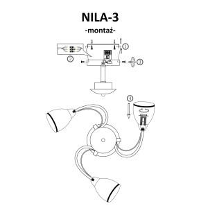 NILA-3 antyczny mosiądz lampa  sufit żyrandol