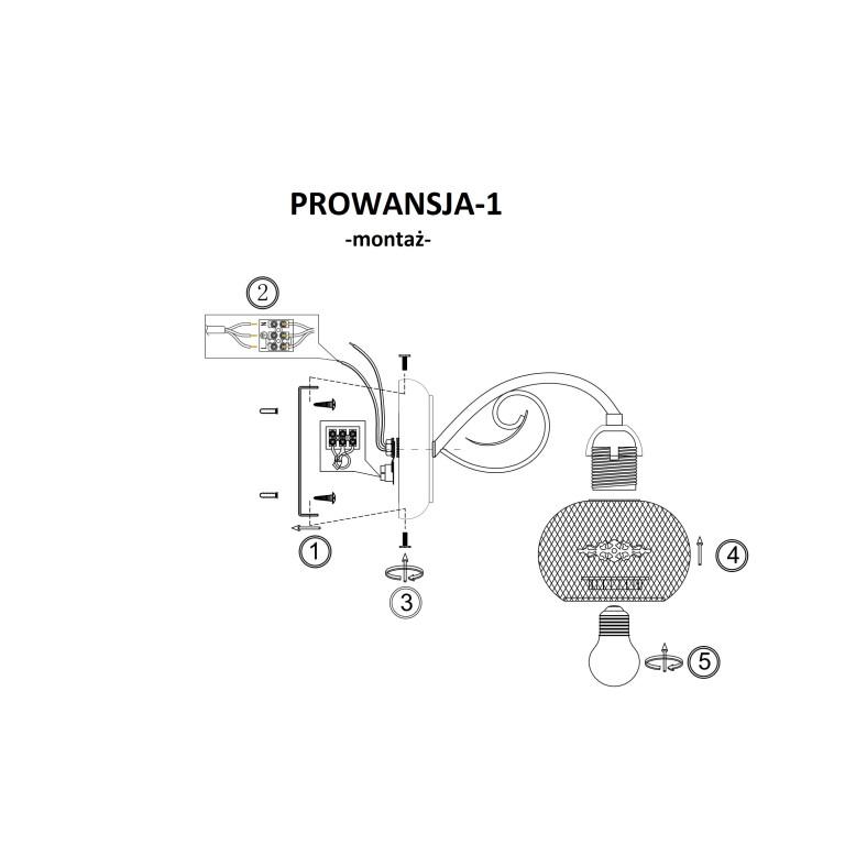 PROWANSJA-1 kinkiet biały+złoty klosz metal siatka