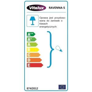 RAVENNA-5  żyrandol 5xE27 chrom klosz szklany