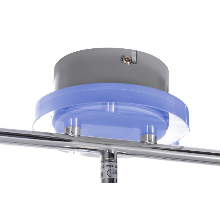 WALTER-3 chrom lampa spot 3xGU10 + LED 3,6W blue