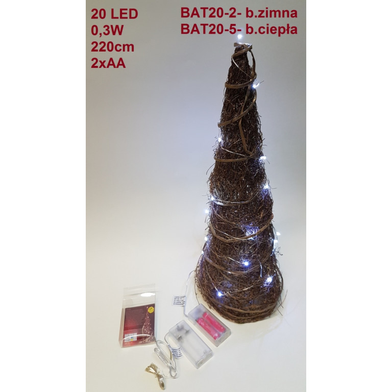 BAT20-2 lampki choinkowe 20 biały zimny baterie