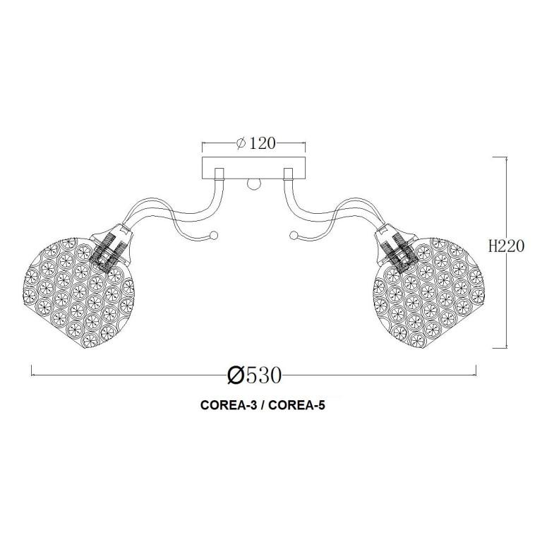 COREA-5 CR żyrandol klosz szklany 5xE27